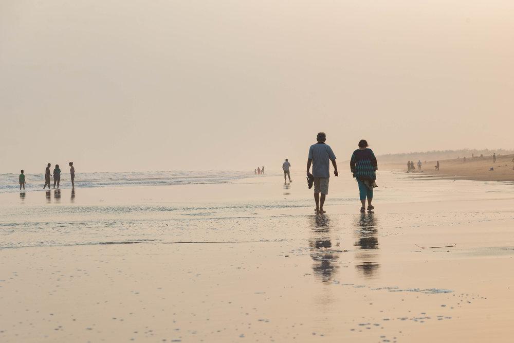sunset on the beach - puri, india