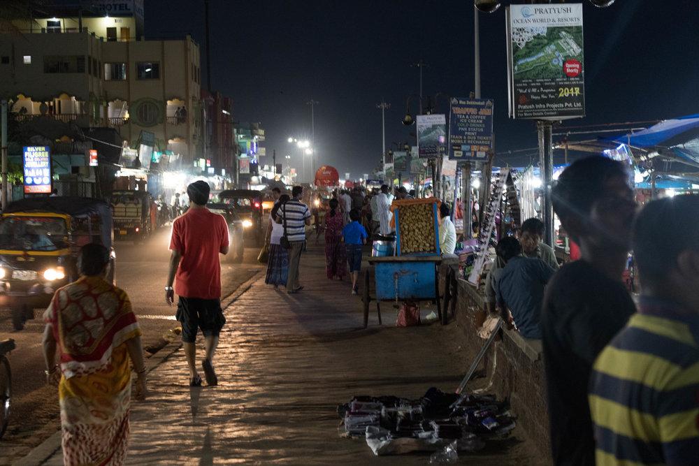 beachside night market - puri, india