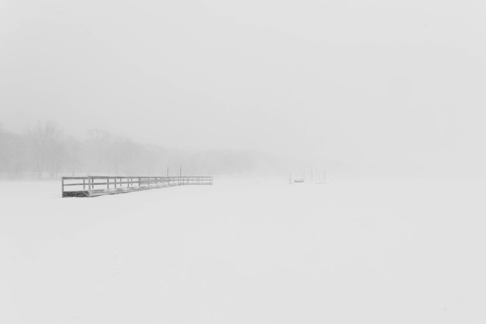 blizzard on the lake - lake harriet, minneapolis