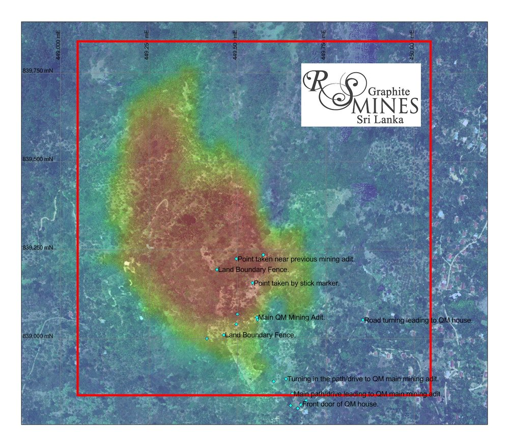 RS Mines, The Queen's Mine VTEM Anomaly, illustrating the 1 Square Kilometer mining license area (red border line), containing the Queen's Mine anomaly, fully owned by RS Mines (pvt) ltd.