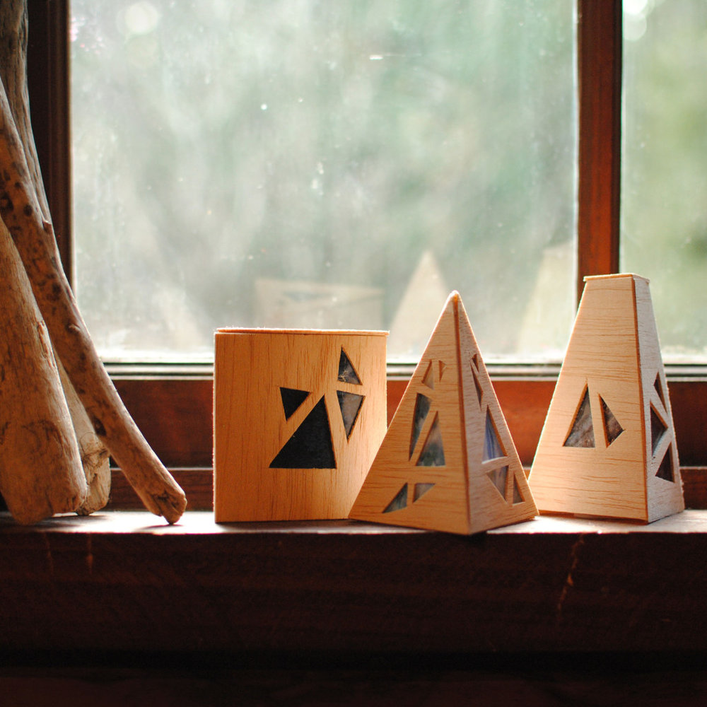 Geometric Wood Luminaries