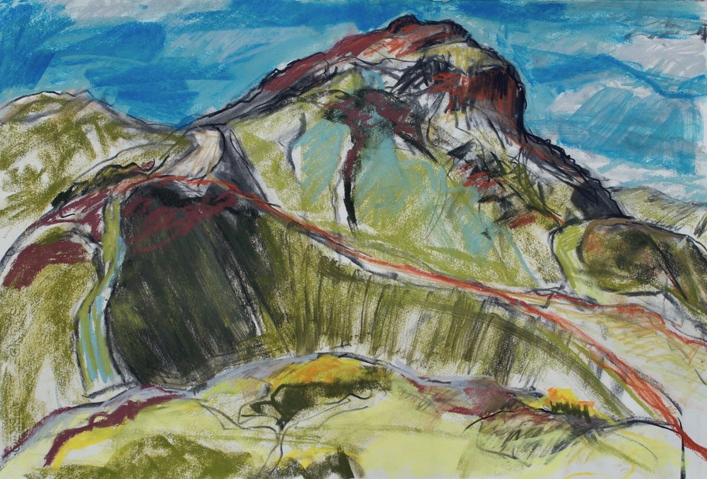 'Arthur's Seat Windy Day', Soft pastel and Charcoal, 34 x 55cm.