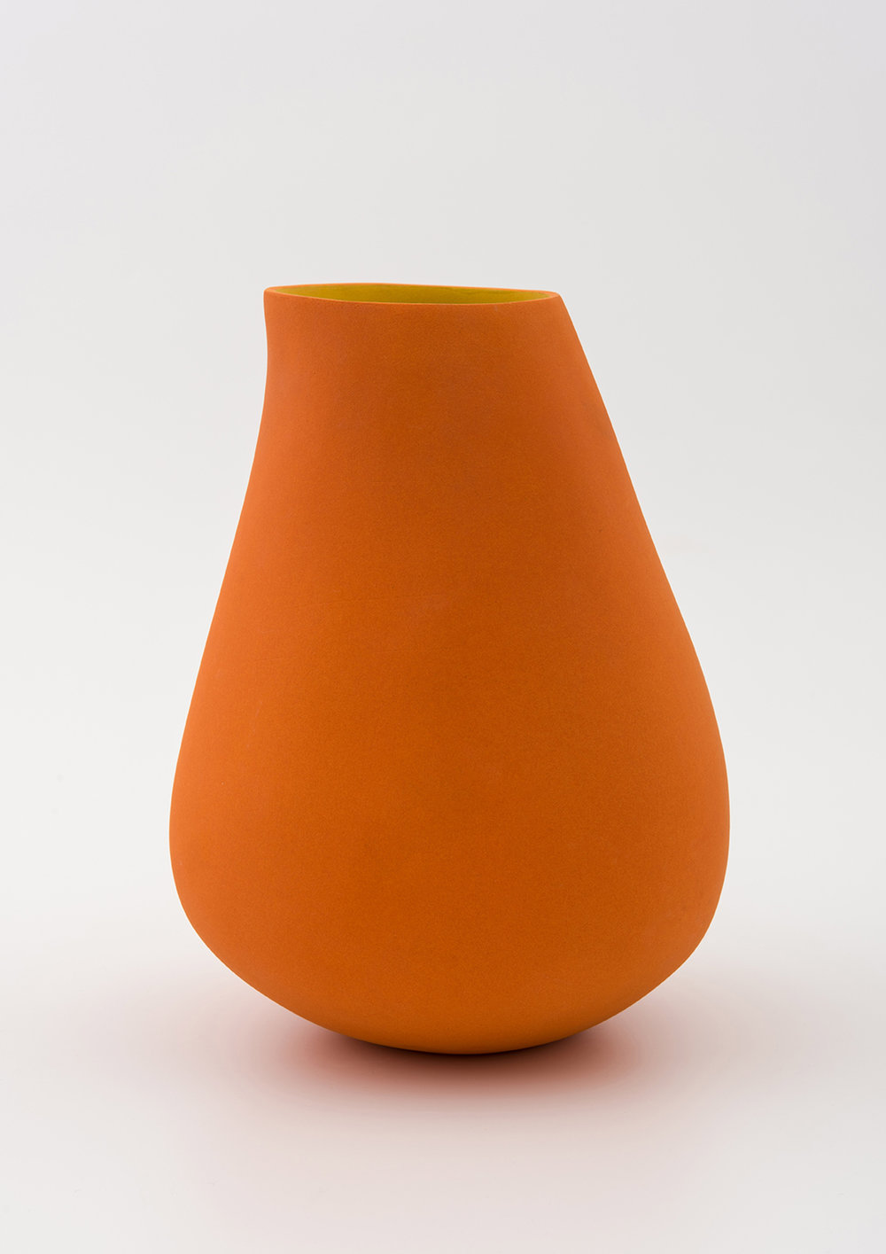 Tall concave vessel form - orange with yellow - height approx 25cm