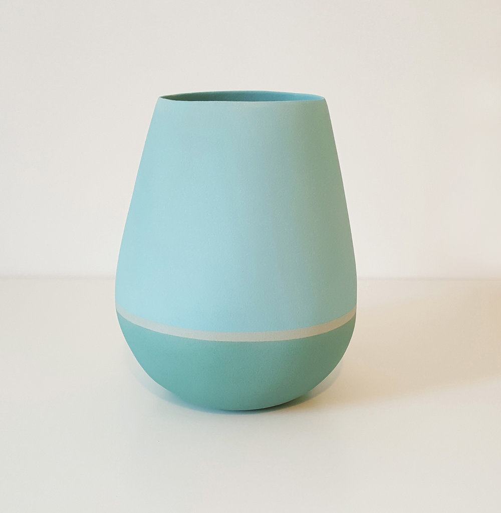 Tall open vessel form - teal,grey and pale blue - height approx 25cm