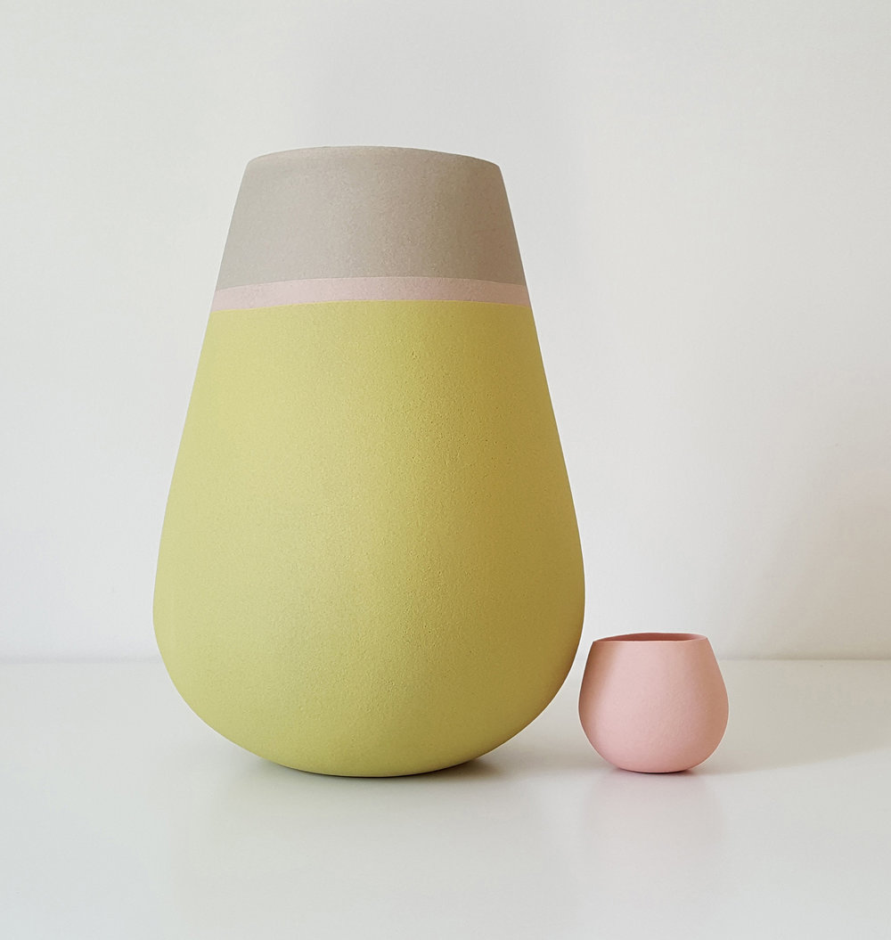 Tall open vessel form with tiny vessel form - grey, pink, sage green - heigh approx 25cm