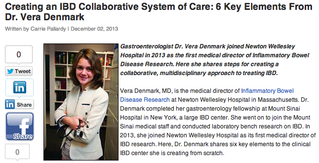 beckers asc review of gastroenterologist vera denmark discussing IBD collaborative system of care
