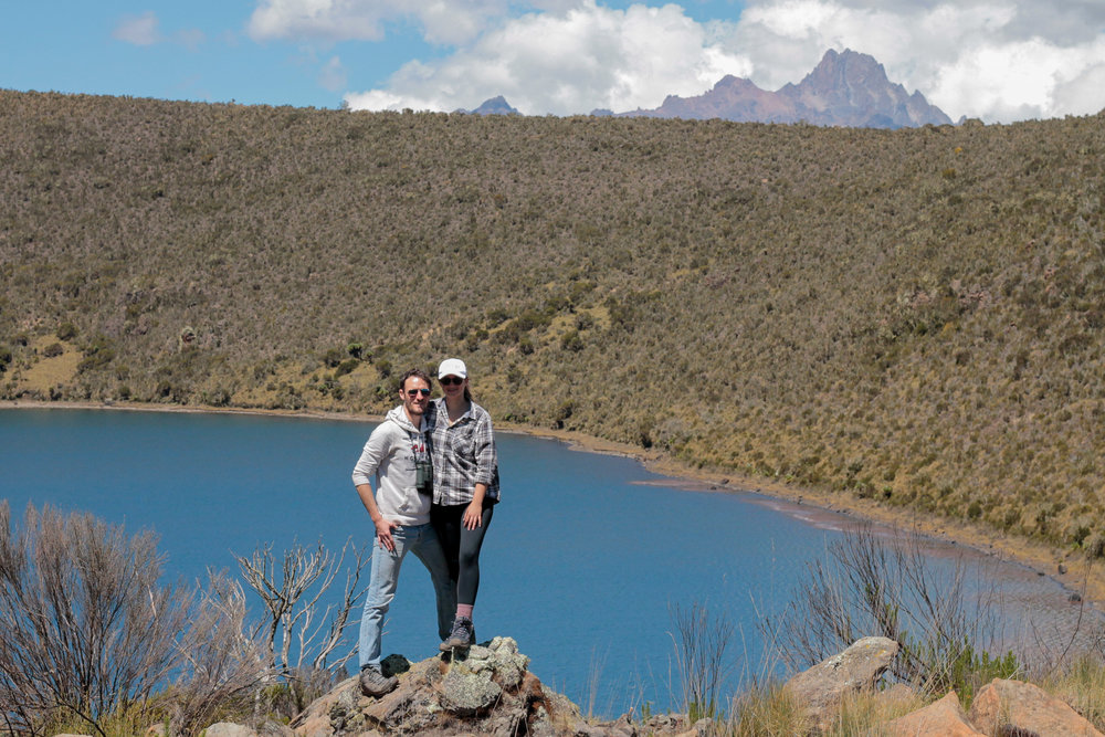 Ali and I at Lake Alice, Mt Kenya in the background
