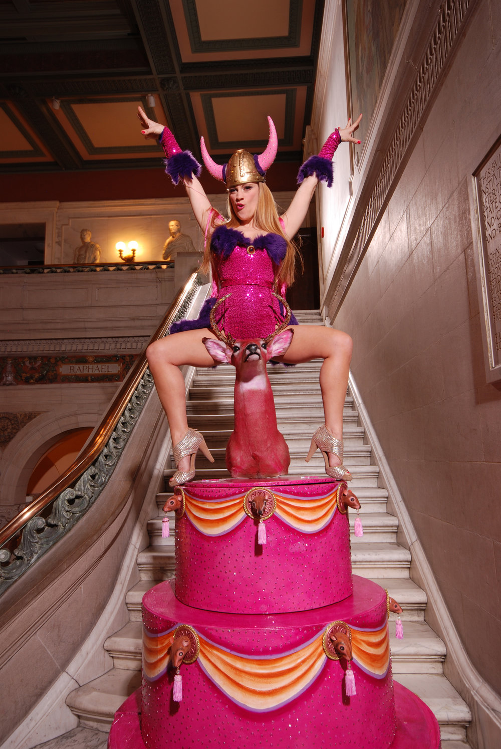 Trixie promoting her  Viking  performance, MICA's Historic Main Building, Baltimore, Maryland, 2010, Photo by Mike Lee