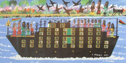 Artist:  Albert Artwell   Title:  The Black Star Liner (2001)   Source:  http://myjamaica.tumblr.com/post/7931156063/the-black-star-liner-by-albert-artwell