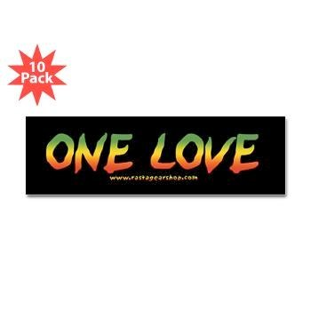 One Love Bumper Sticker   Photo: http://www.cafepress.com/mf/10650929/rasta-gear-shop-black-one-love_bumper-sticker  Accessed Spring 2013