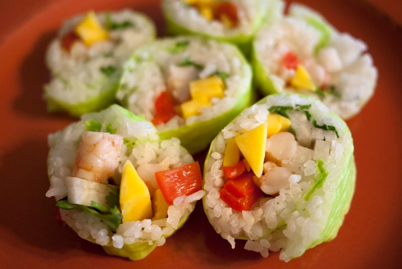 Rasta Roll Sushi   Photo: http://iloveaustin.tumblr.com/post/40627798780/rasta-roll-from-roll-on-sushi-diner-yelp  Accessed Spring 2013
