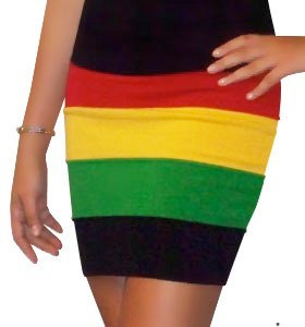Rasta Skirt   Photo: http://www.ebay.com/itm/New-Sexy-Rasta-Lady-Empress-Jamaica-Reggae-Knit-Fitted-Pencil-Mini-Skirt-HRA3003-/271030099021  Accessed Spring 2013