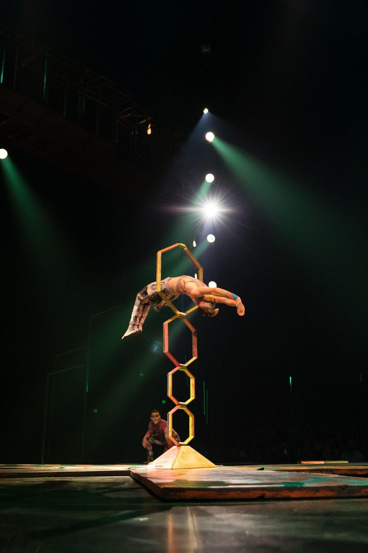 Kevin Beverley hoop diving in Cirque du Soleil's VOLTA