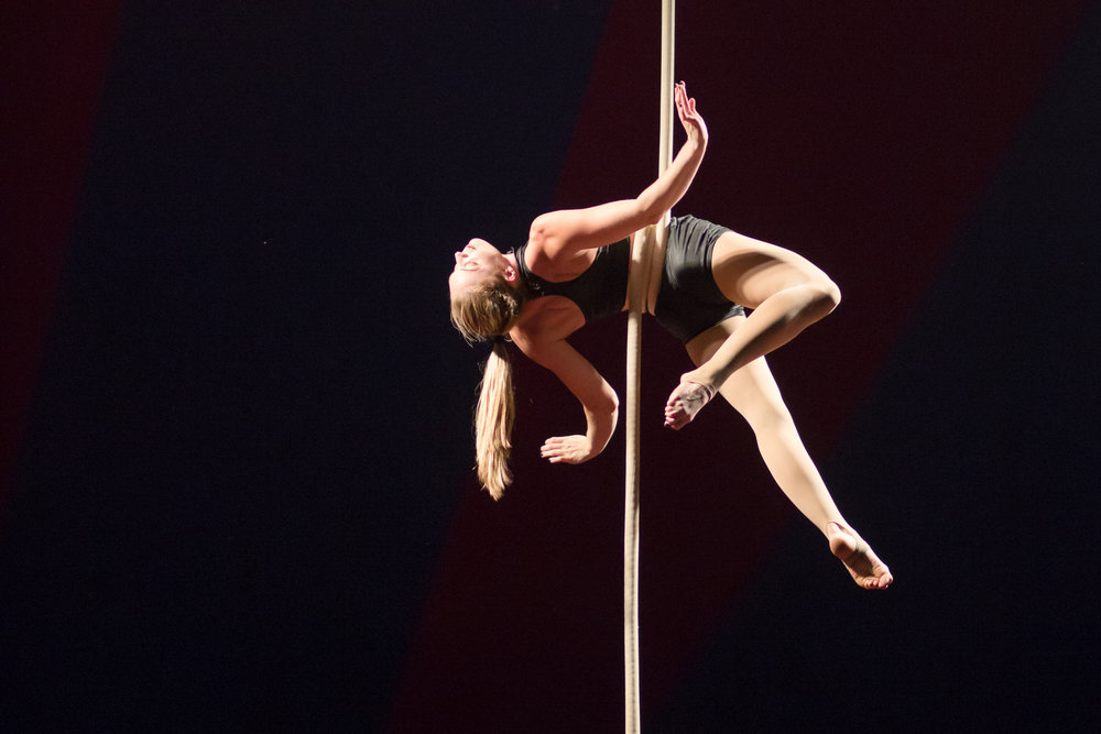 Kia Eastman on aerial rope at Midnight Circus