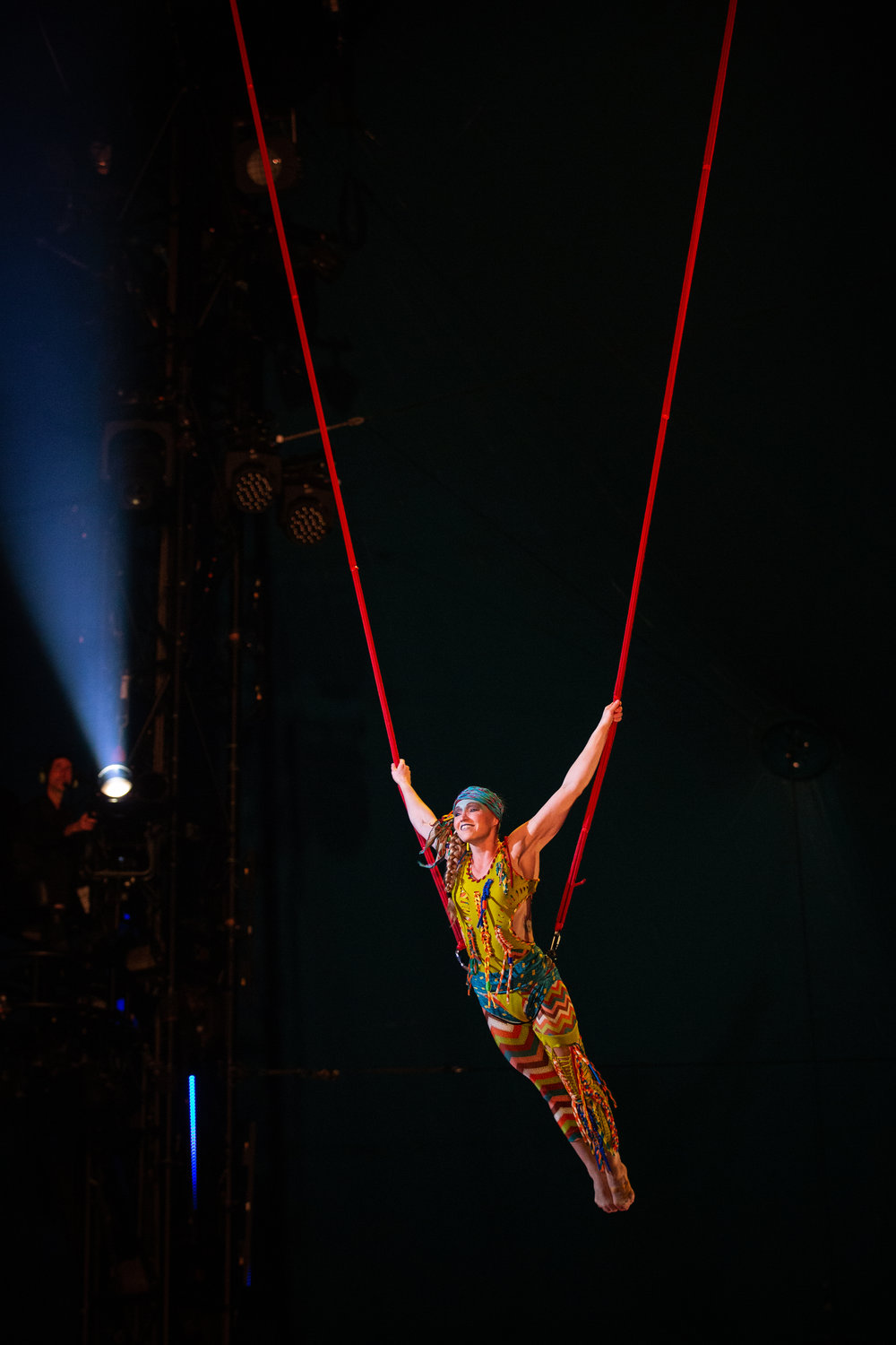 Kia Eastman on bungees with Cirque du Soleil's VOLTA. Photo by Andi Atherton