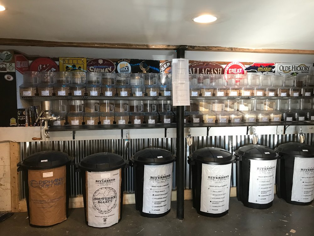 Selection of grains available at Nook Homebrew store