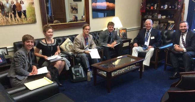 Students in a lobby meeting with member of Congress during the International Conference and Lobby Day in Washington D.C.
