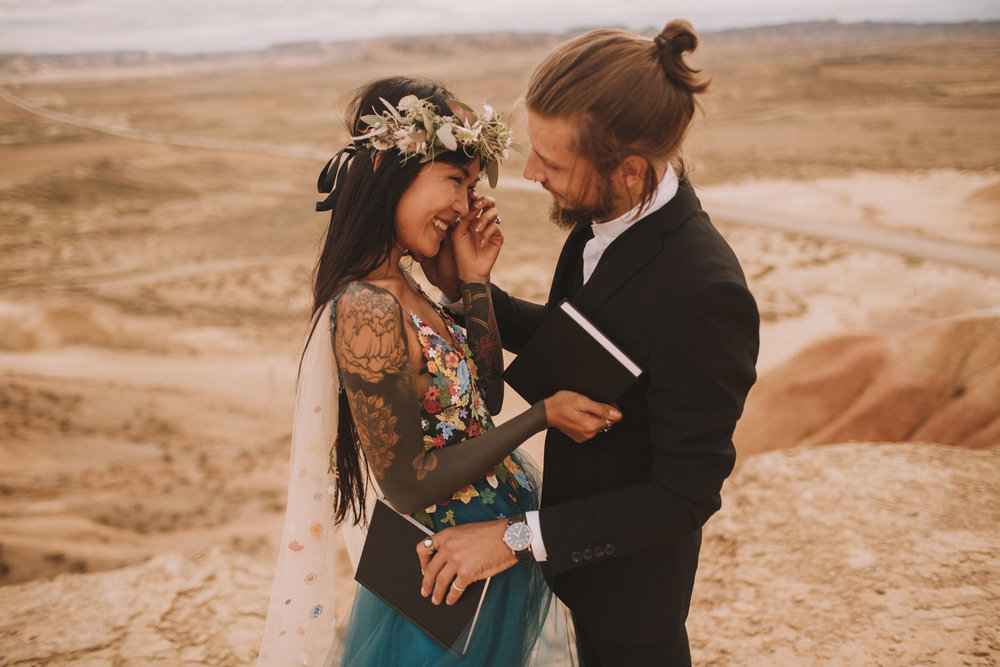 Anh & Kim - Elopement inspiration in the Bardenas Reales desert, Spain