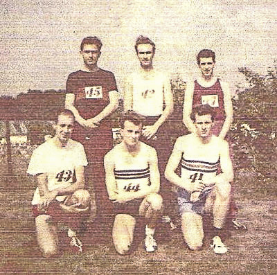 The Wimbledon AC Men's Surrey Road relay team of 1959: Back row: Tom Pollak, Ray Lovegrove and Roger Clark; front row: Harry Maylin, Robin Thomas and Bob Frewin