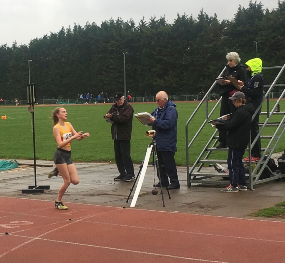 Georgina Clarke comfortably wins the U15G 1500m at the Young Athletes Meeting on Sunday