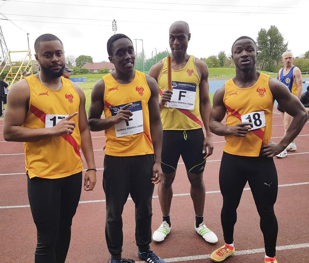 The winning 4x400 metres relay team at Saturday's SAL match at Carshalton