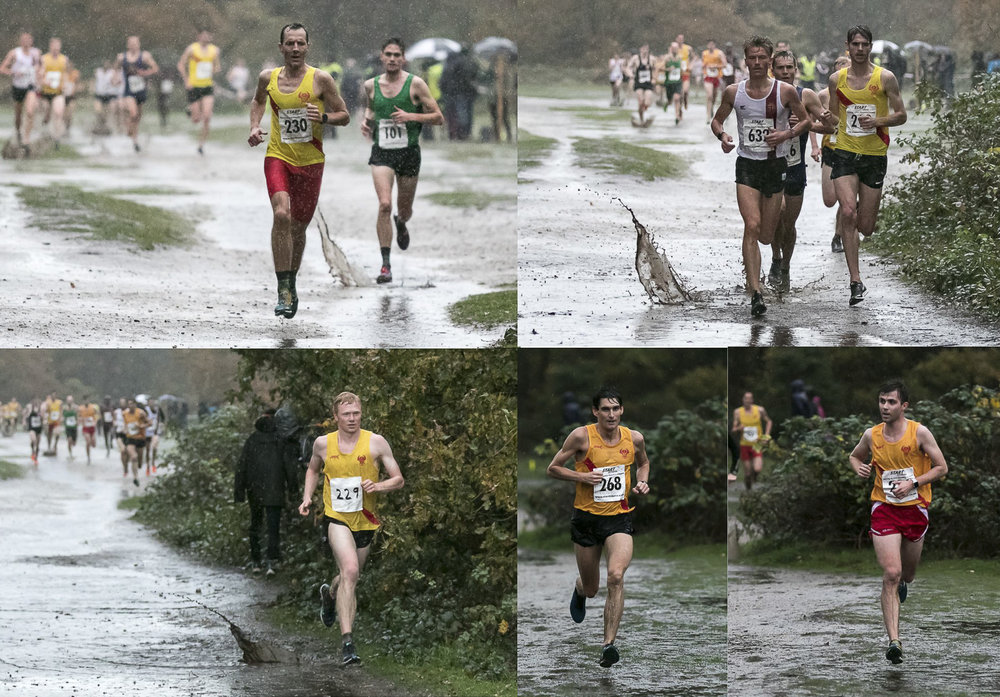 Above, clockwise: The Mighty Finn (Johnson) leads home the first five: Howell Craske, Tom Jervis, Andy Greenleaf and Ross Matheson. Below, clockwise: Freddie Slemeck, Andrew Penney, Jonny Cornish, Richard McDowell and Charlie Eastaugh completed the scoring A team. Many thanks to Guy Gibbons for defying the lashing rain in order to capture these great images.