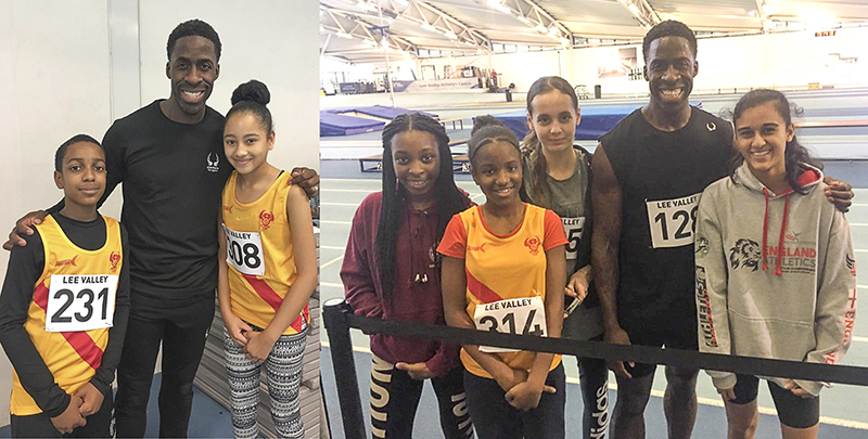 Some of the Club's young sprinters with fellow competitor Dwain Chambers at the Lee Valley December Open meeting.