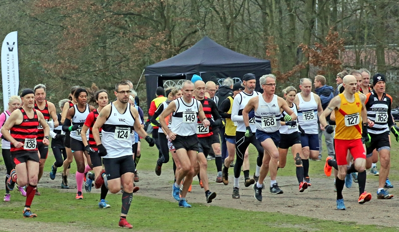 Richard McDowell heads the start of the Veteran Athletic Club Cross Country Championships and Masters Open on Wimbledon Common. Photograph by Cliff Hide.