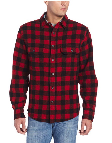 WOOLRICH MEN'S WOOL-BLEND BUFFALO-PLAID SHIRT
