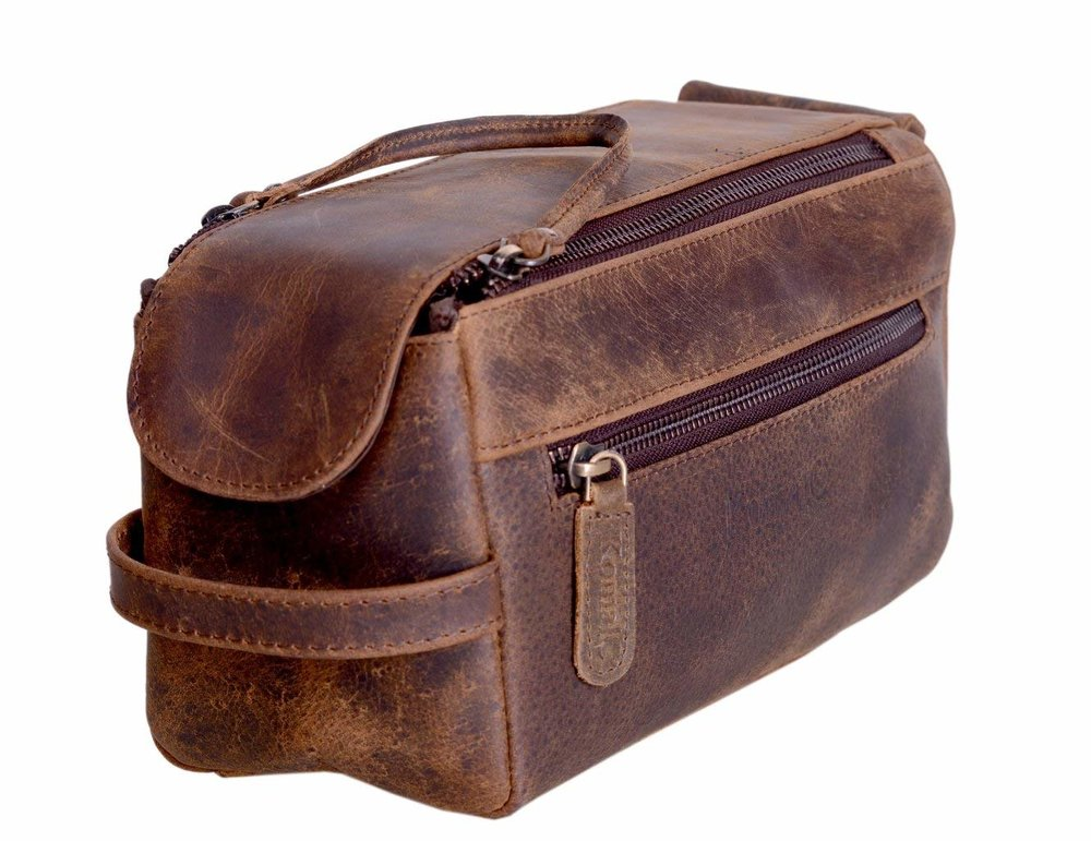 GENUINE BUFFALO LEATHER TRAVEL DOPP KIT