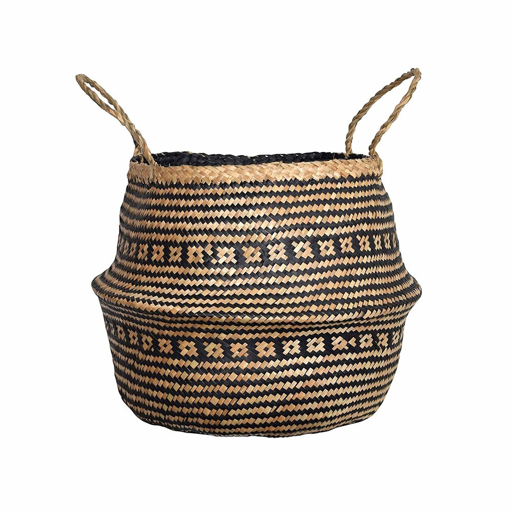 LARGE WOVEN NATURAL SEAGRASS BASKET