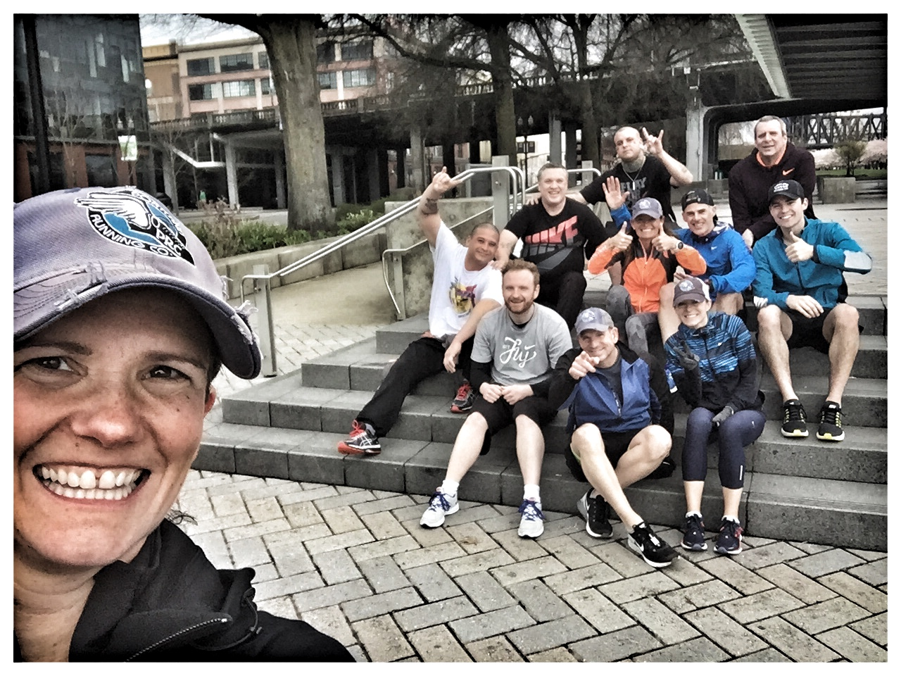 Selfie and group photo of the running/walking club.