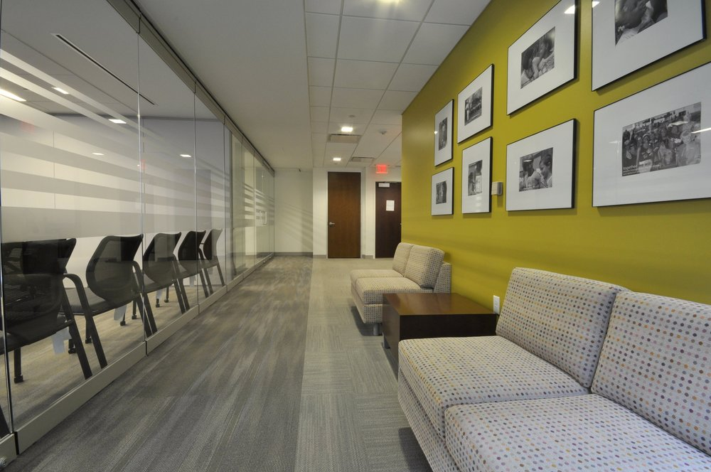 Washington, DC - Scope of Services Project ManagementRelocation ManagementProject Overview13,000 sfNew Office Build-Out + RelocationDesign FeaturesGlass office fronts built with a diagonal drywall feature, and mural artwork throughout the space highlighting NCBH's mission and accomplishments. Project TeamBroker: DTZArchitect: OTJContractor: HBWFurniture: Washington WorkplaceAudiovisual/Cabling: MetroTelArtwork: Paco LaneMover: Office Movers