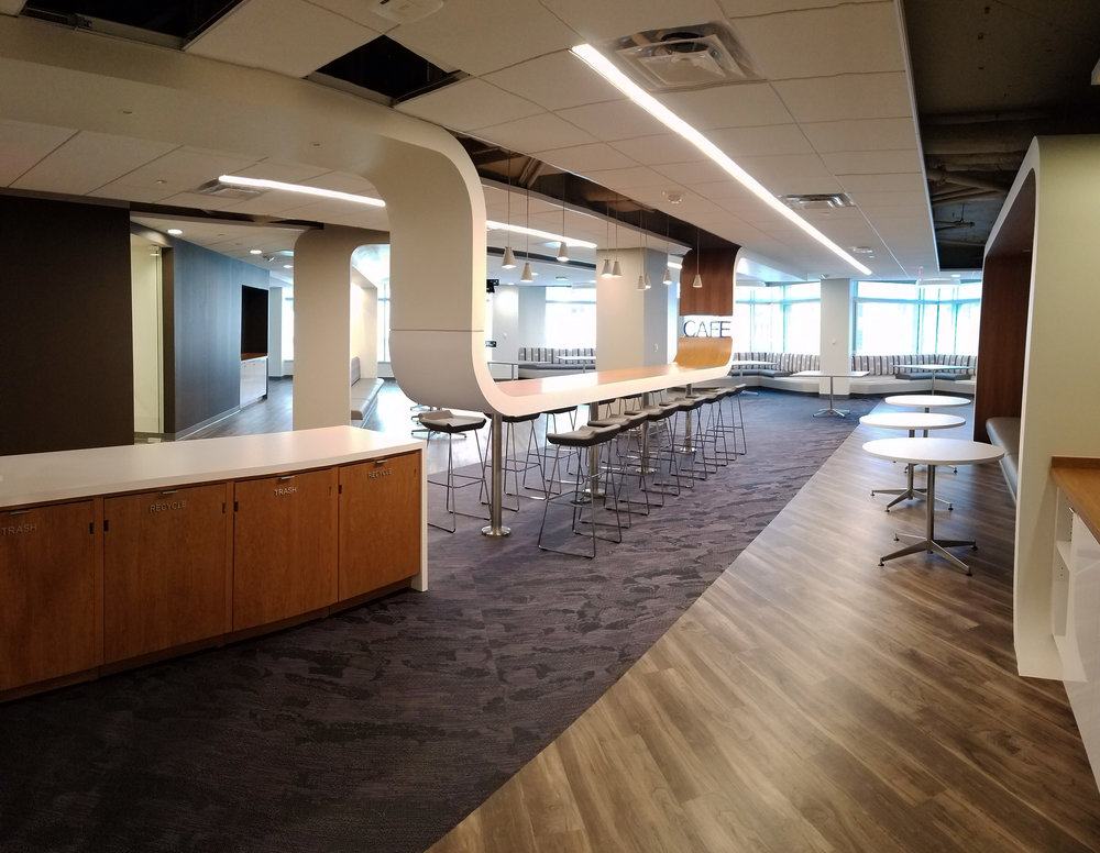Washington, DC - Scope of ServicesProject ManagementRelocation ManagementChange ManagementDesign FeaturesSculptured logo featured in the office lobby, glass offices providing natural light, thermic carpet accented by warm golden tones throughout the space. Project TeamArchitect: DCSContractor: CluneAV/IT: Diversified/MCWFurniture: MOI & DKMover: Able