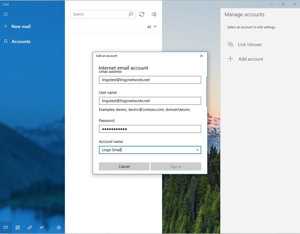 Lingo Networks email setup guide for Windows Mail.
