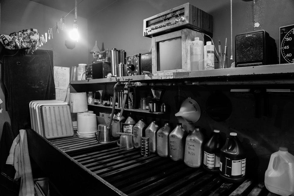 Zach and Kim Weston's darkroom in Carmel Highlands, CA