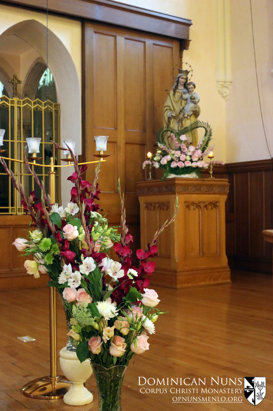 A few of the bouquets arranged for the nuns' choir by our inside sacristans.