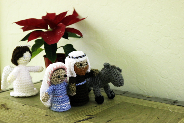 Our crocheted Holy Family, made by one of the sisters, traveling to Bethlehem.