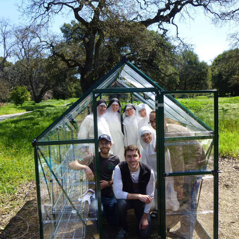 The finished greenhouse!  Because of the weather and building conditions, some of the students on the greenhouse team volunteered to return on a following Saturday to complete the project.  Thank you!