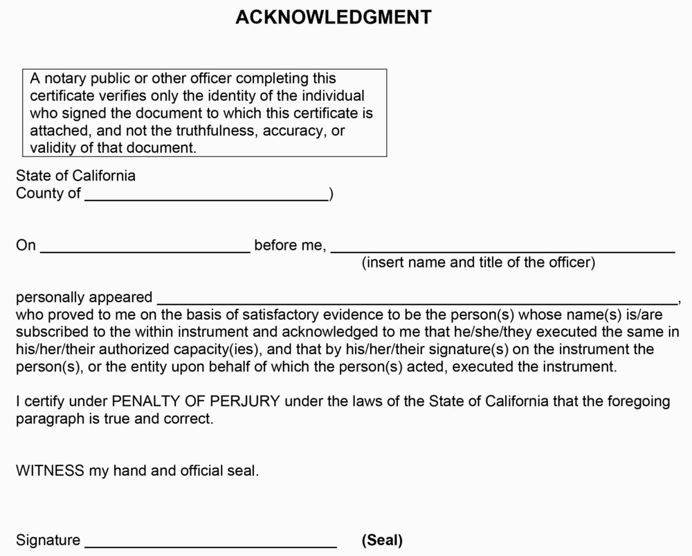California Notary Acknowledgment Certificate