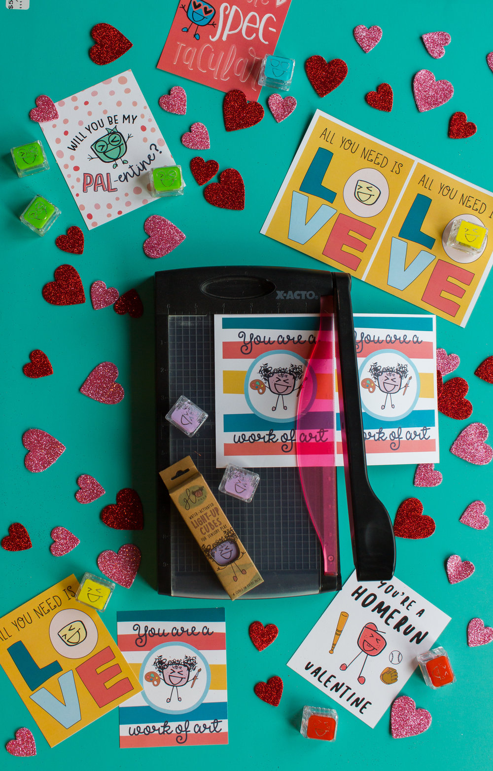 Print & Cut - Print your free PAL-entines card printable; make sure your print scale is set to 100% so your Glo Pal matches the face on the card! Carefully cut along the guides with a paper cutter or scissors.Closely supervise kids in this step! We don't want our Pals to get hurt!