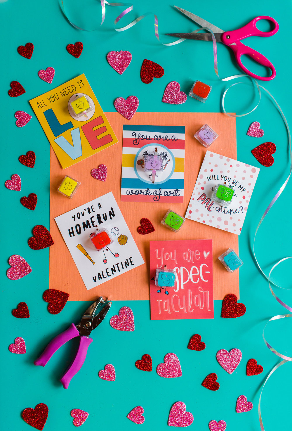 Supplies - * Glo Pals!* PAL-entines Day Card Printable* ribbon (we used the flat,curling kind)*scissors*hole punch (we used a mini)