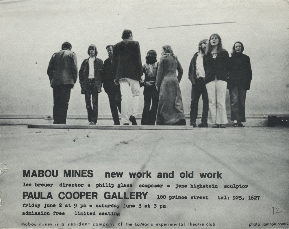 Paula Cooper Gallery announcement, 1972, for Mabou Mines with Lee Breuer, Philip Glass, and Jene Highstein.