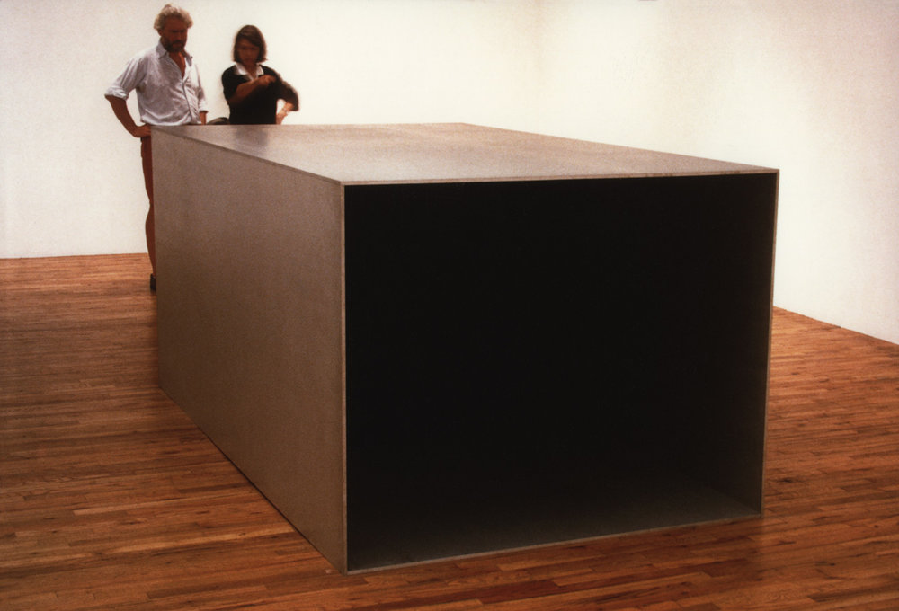 Donald Judd and Paula Cooper installing in October, 1986.