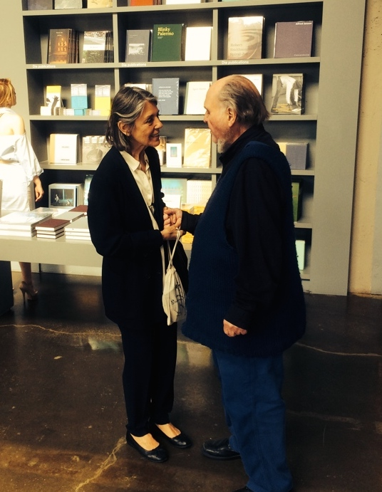 "Paula Cooper and Carl Andre in the Dia Beacon bookstore at the time of Andre's exhibition, ""Carl Andre: Sculpture as Place, 1958–2010,"" Dia Beacon, New York (May 5, 2014–March 2, 2015)"
