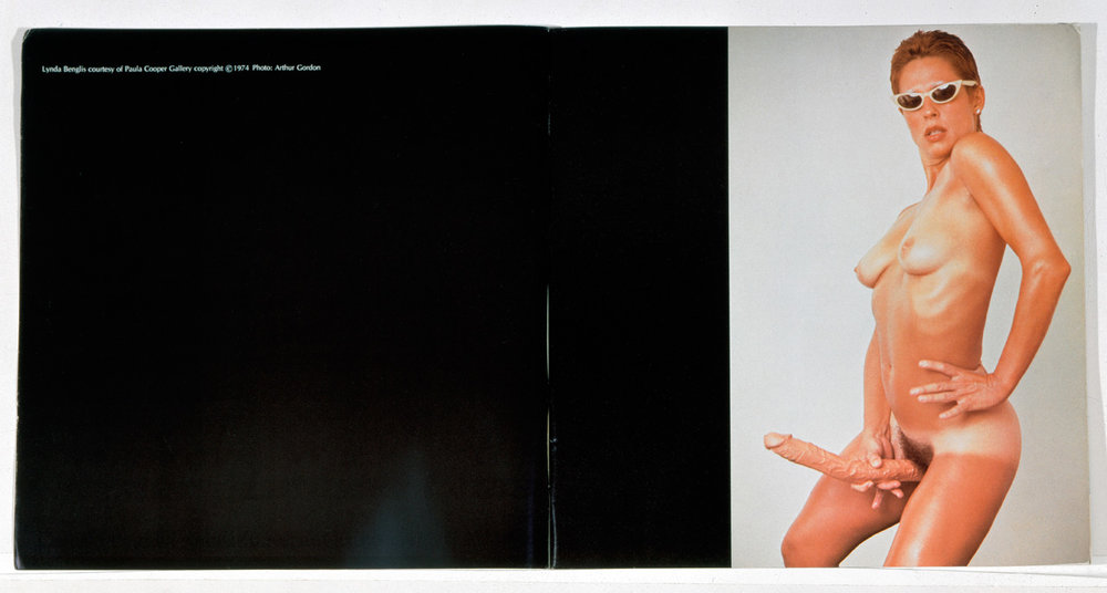 Lynda Benglis, advertisement by the artist and Paula Cooper Gallery, New York, printed in Artforum Magazine, November 1974 issue. Photo: Arthur Gordon. © Lynda Benglis /  Licensed by VAGA, New York, NY.