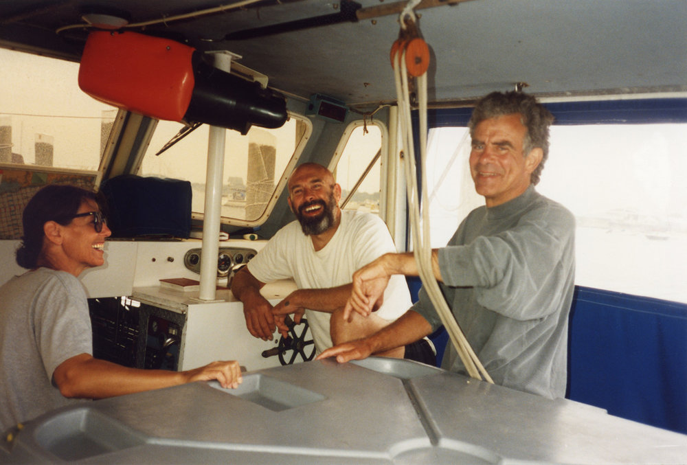 Paula Cooper, Alan Shields and Jack Macrae sailing, 1991.