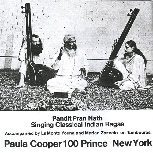 Advertisement for a 1972 performance by Pandit Pran Nath, La Monte Young, and Marian Zazeela at Paula Cooper Gallery, 100 Prince Street, New York.