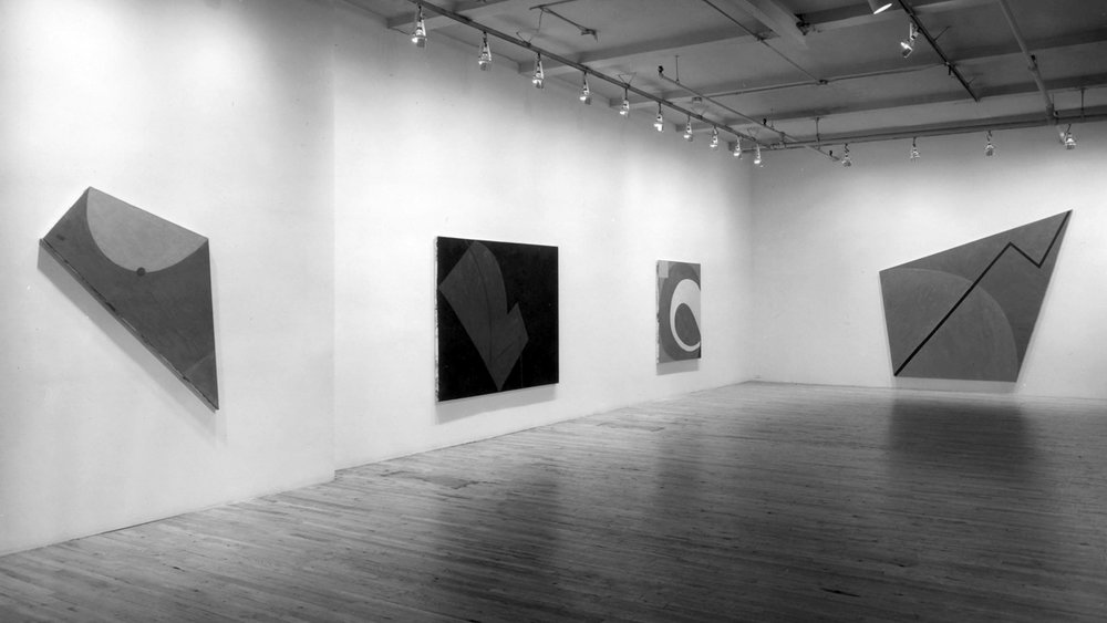 "Exhibition announcement and installation views for ""Elizabeth Murray: Paintings,"" Paula Cooper Gallery, 155 Wooster Street, New York (November 2 — November 27, 1976)."