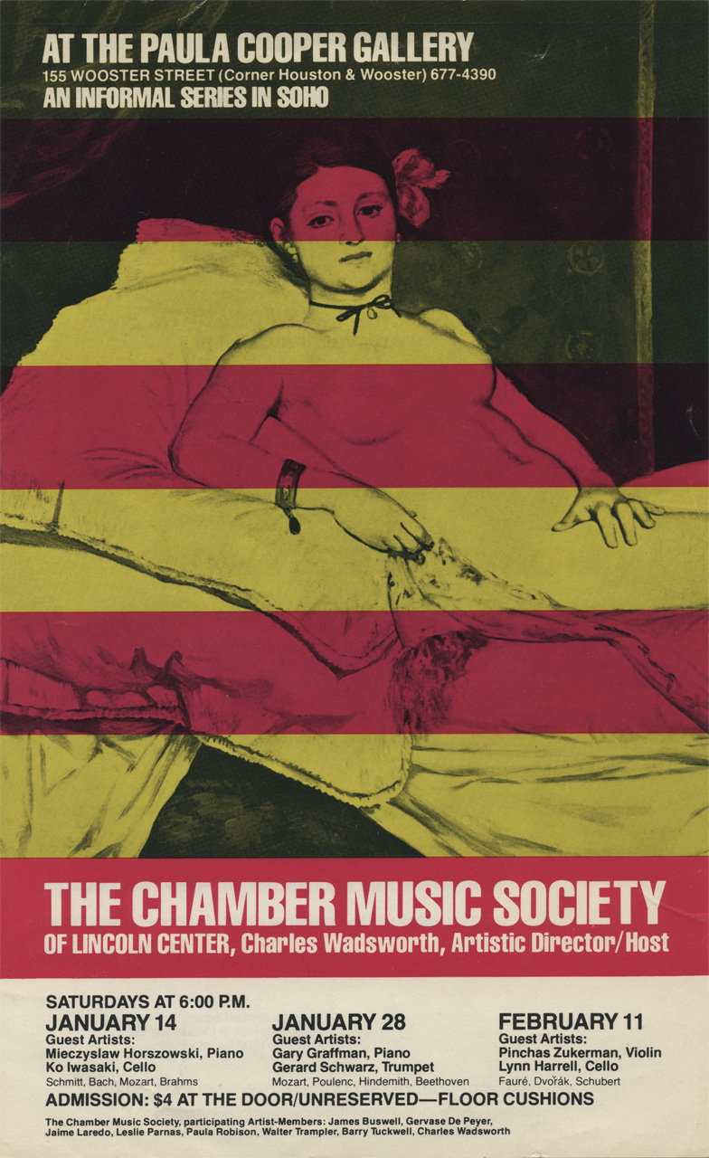 Paula Cooper Gallery announcement for its series of performances by The Chamber Music Society, January – February, 1978.